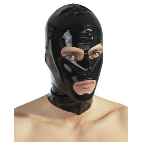 Latex-Kopfmaske mit Öffnungen - schwarz