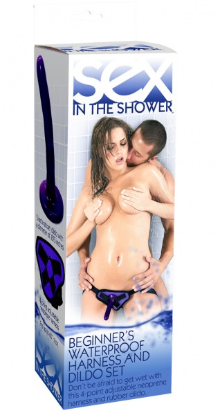 Sex in the Shower - Harness mit Dildo Set - wasserfest